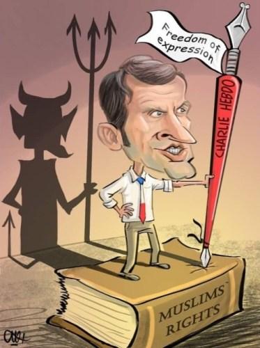 Macron as the devil. Cartoon.