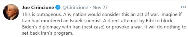Joe Cirincione Tweet