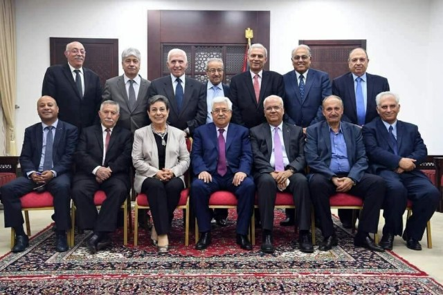 The PLO Executive Committee. Chairman Abbas is flanked by Erekat and Ashrawi. 2018