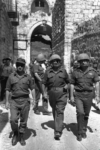 Uzi Narkiss, Moshe Dayan and Yitzhak Rabin enter the Old City of Jerusalem, 1967