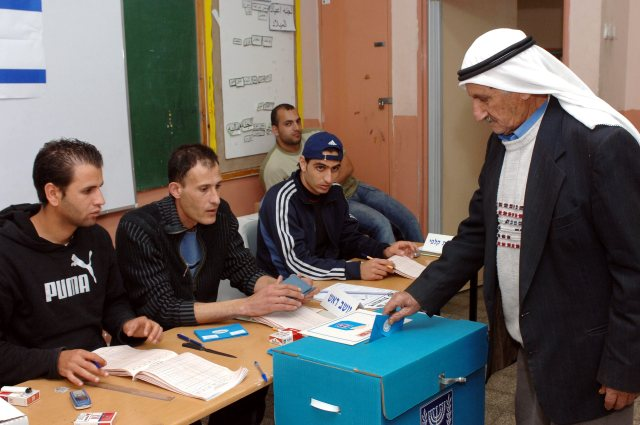 An Israeli Arab casts his vote In Jaljulia, 2006