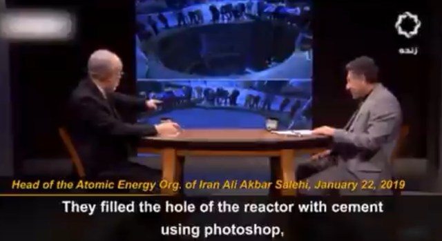 """Salehi pointing to the """"cemented"""" reactor core"""