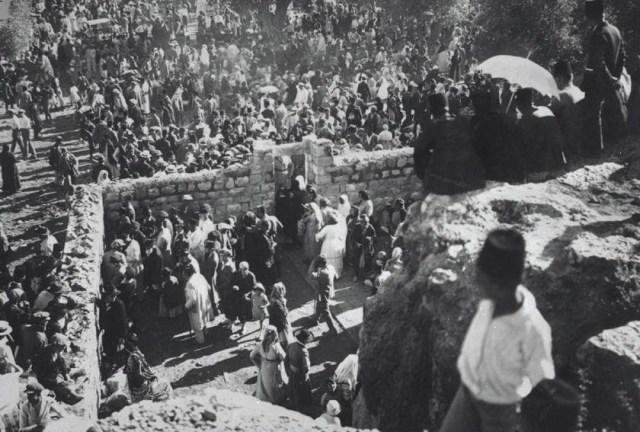 Jews gathering at the Tomb of Shimon Hatzadik