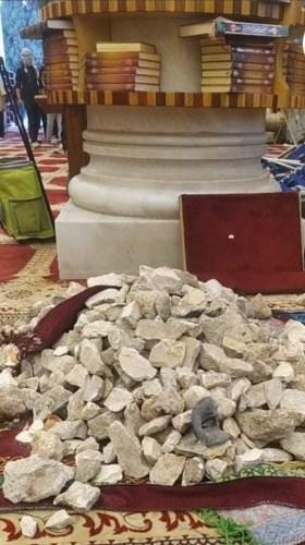 Stones stockpiled inside the al-Aqsa Mosque