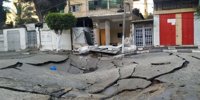 Collapsed tunnels from the Gaza street level