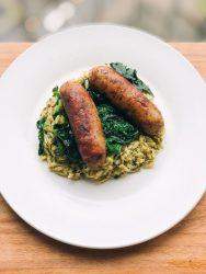 Smoked Turkey Sausage Bowl: Mozzarella and Broccoli Rabe