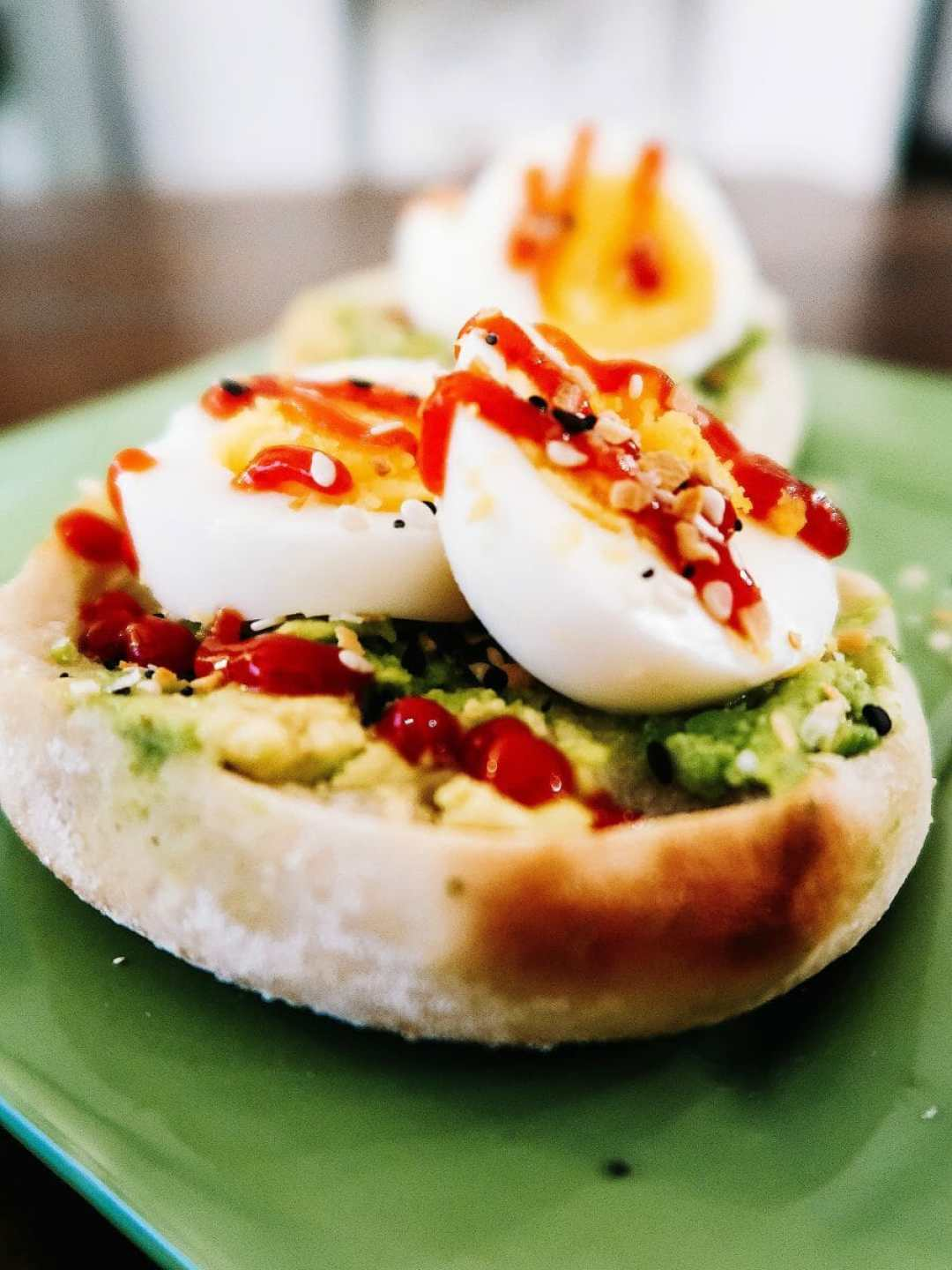 Avocado English Muffin with Hard-Boiled Eggs (Happy Egg)