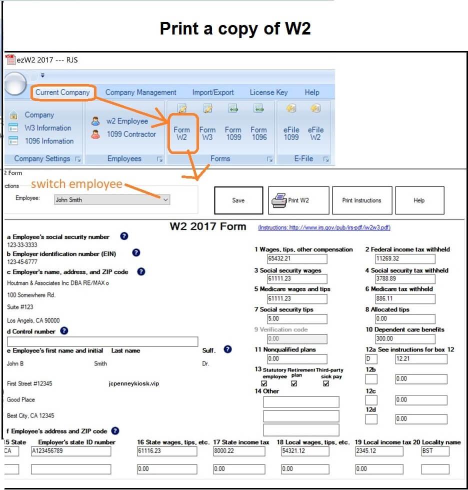 jcp associate w2 copy