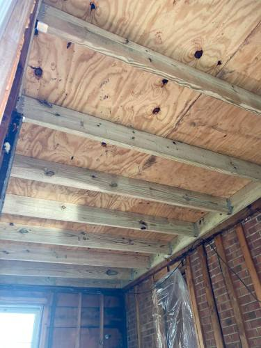 new plywood roof install