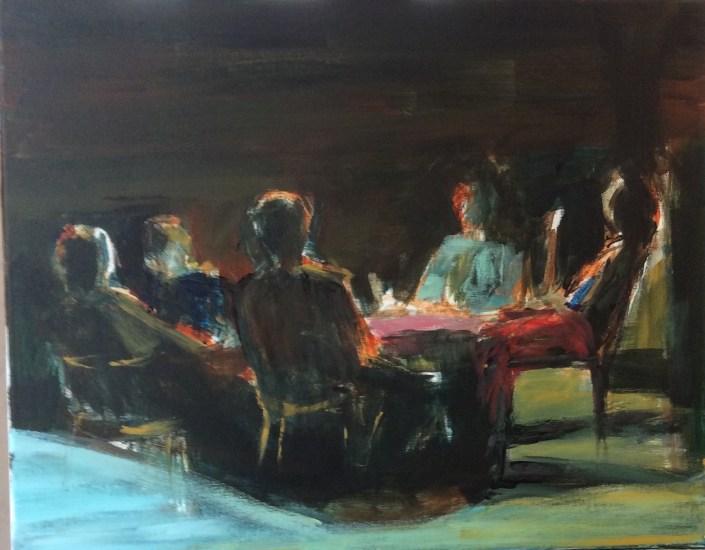 Hommes autour d'une table - Tableau d'après Les Hommes sans loi - Acrylique sur toile