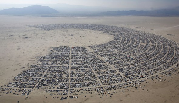 An aerial view of the Burning Man 2013 arts and music festival, in the Black Rock Desert of Nevada, on August 29, 2013. (Reuters/Jim Urquhart via The Atlantic)