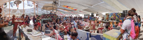 Centre camp is a place to escape the mid-day sun and to socialize with fellow Burners