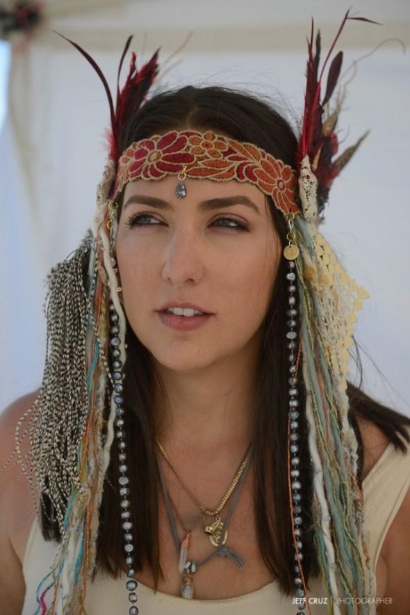 My beautiful camp-mate Amy sporting her custom headpiece.