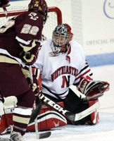 Thiessen protecting the net in the 4-3 win over #1 ranked BC