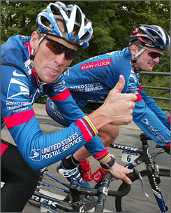 Armstrong and Landis on the way to victory
