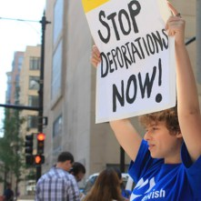 Rose calls for President Obama and ICE Chicago director Ricardo Wong to stop separating families through deportations at an action in front of Immigration and Customs Enforcement's Chicago headquarters. Photo by Shanti Polara.