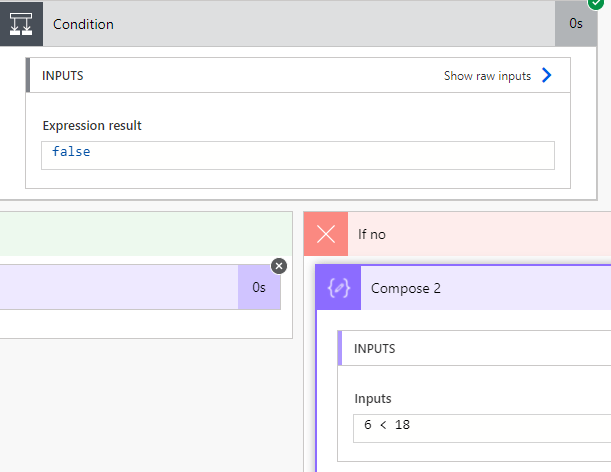 Negative test case 6 >= 18 for If-Else Condition in Power Automate Microsoft Flow (MS Flow)