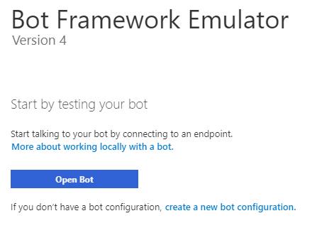 Bot emulator welcome page