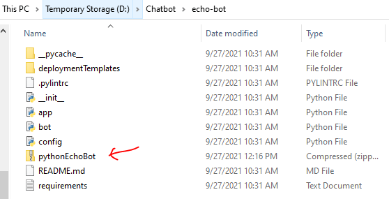 Zip folder created for Python Basic Bot