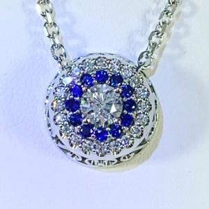 Sapphire & Diamond Cluster Necklace