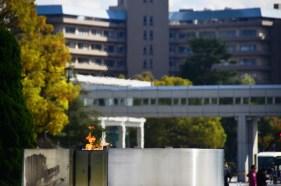 Peace Monument. Den här lågon ska först släckas när världen är helt från kärnvapen.