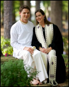 Fred and Dana in their Hindu and Christian clergy robes. Take in the gardens of Binkley Baptist Church by Franklin Golden.