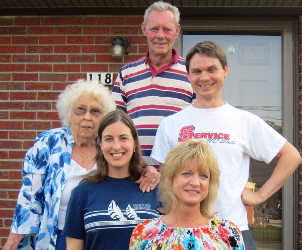 Clockwise from the top: Granddad Eaker, Fred, Fred's mother, me, and Granny