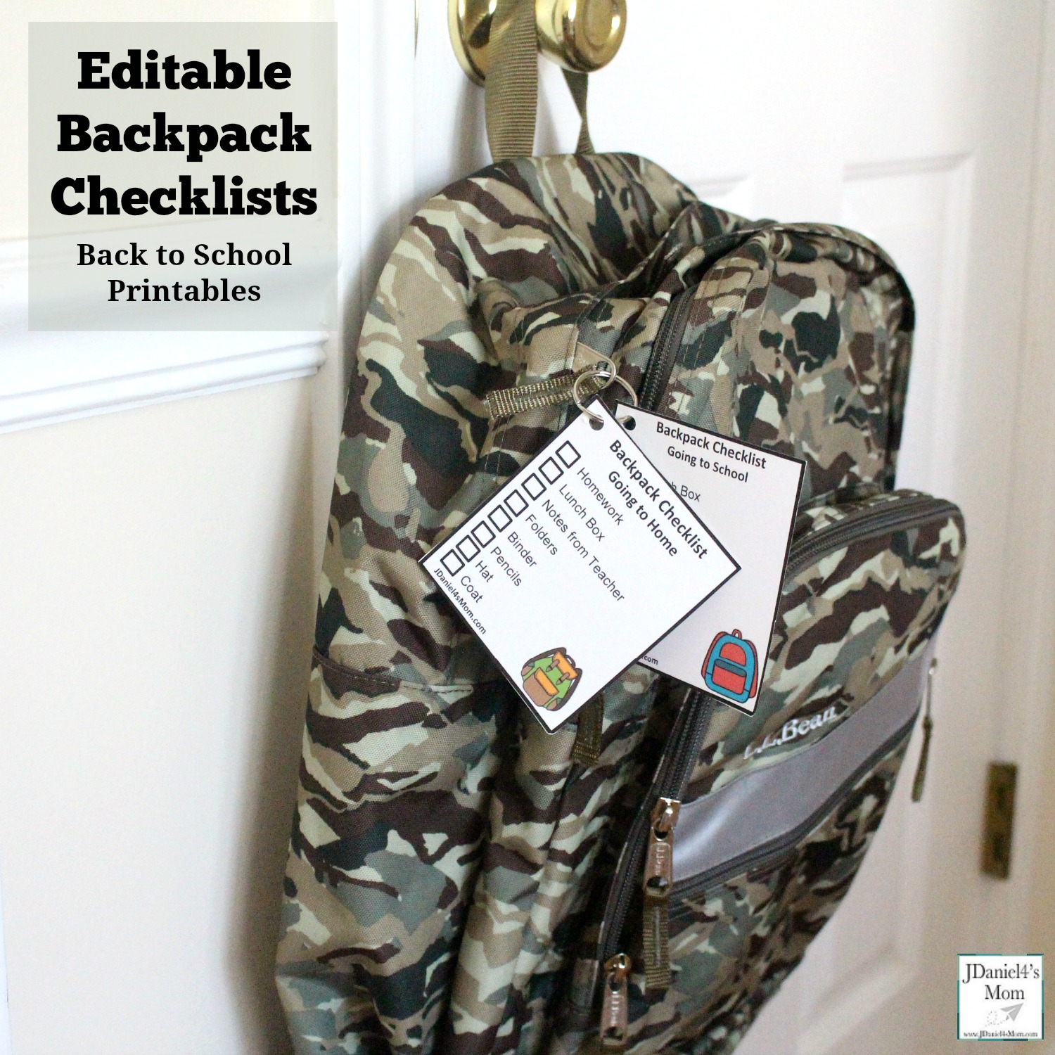 Back To School Printables Editable Backpack Checklists