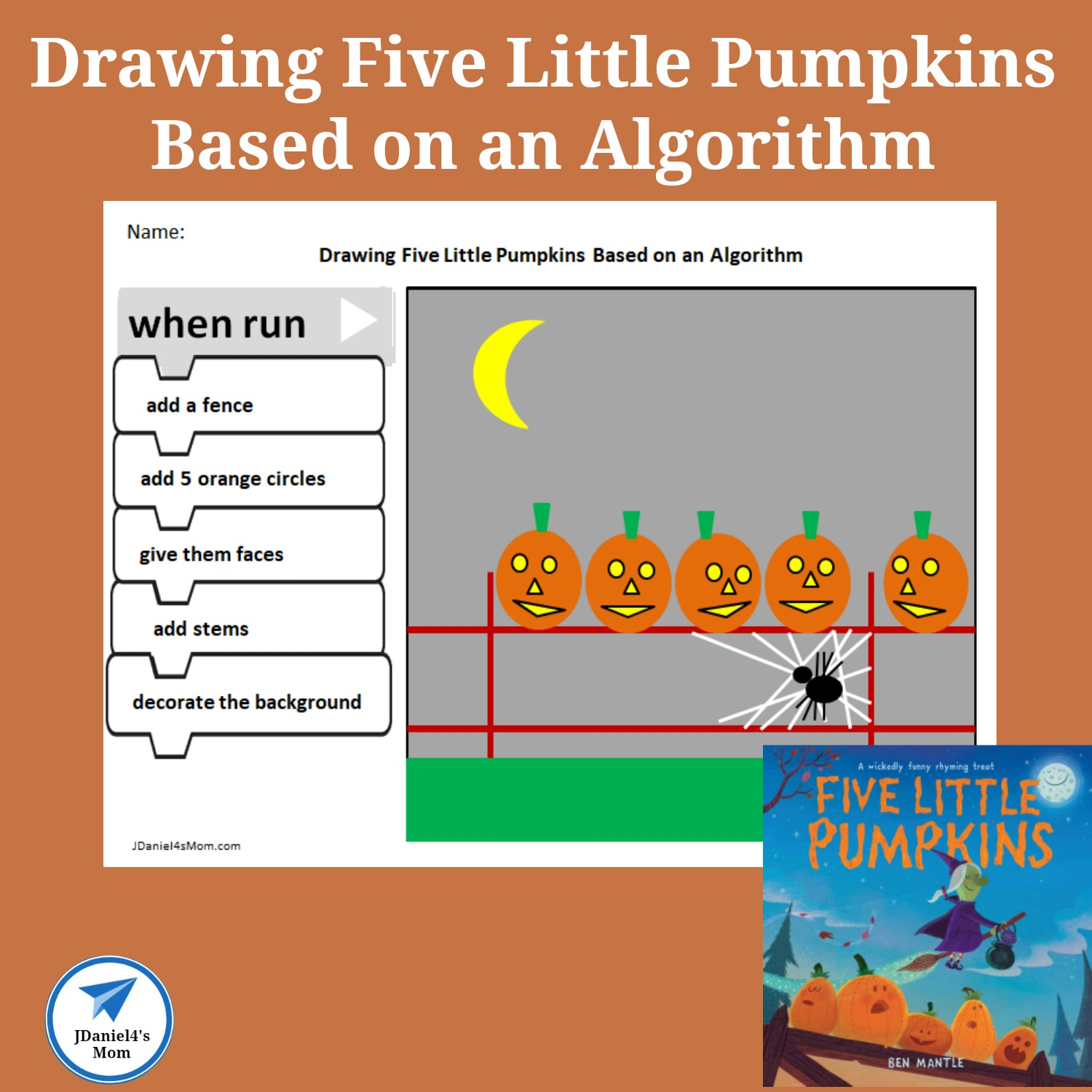 Drawing Five Little Pumpkins Based On An Algorithm