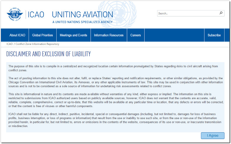ICAO Conflict Zone Information Repository