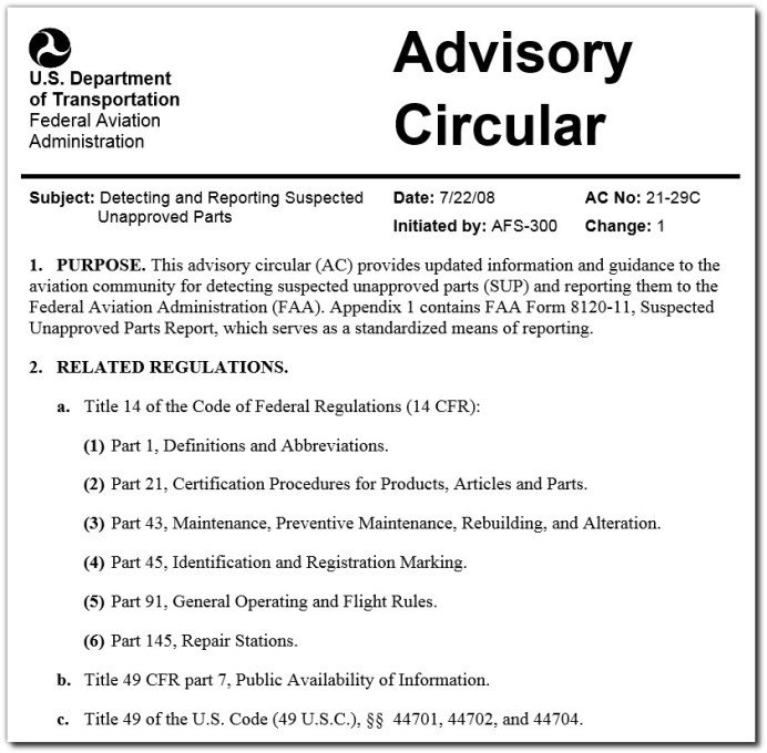suspected unapproved parts sups advisory circular faa usdot