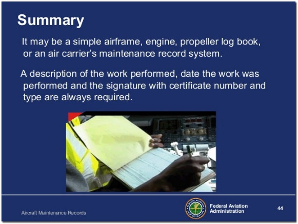 faa logbook aircraft maintenance records