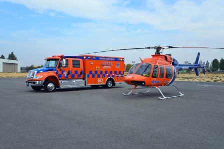 HEMS helicopter and ambulance