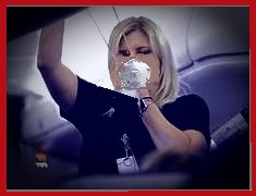 Flight attendant with M90 mask