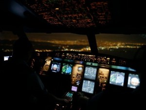 A340 cockpit at night