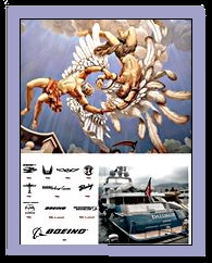 Icarus& Daedalus , Boeing logos and the stern of Daedalus