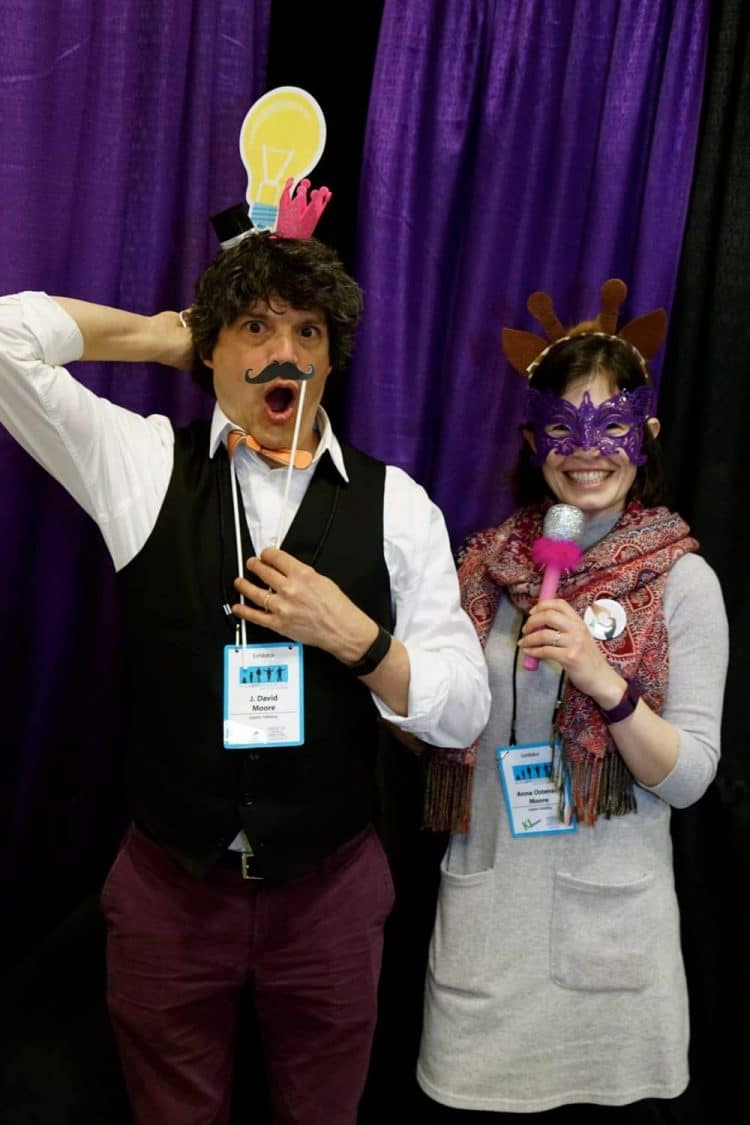 J. David Moore and Anna Ostenso Moore dressed up at a conference