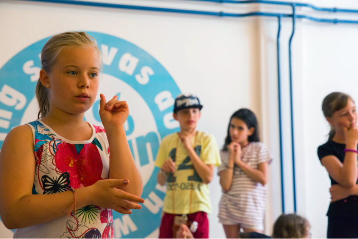 Young Jewish campers gathered in an assembly at Camp Szarvas in Szarvas, Hungary.
