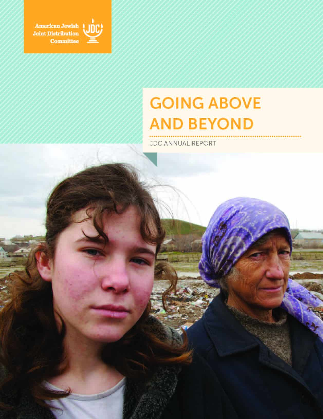 JDC's Annual Report 2012 showing a young woman and old woman with a purple headscarf in Shymkent, Uzebkistan.