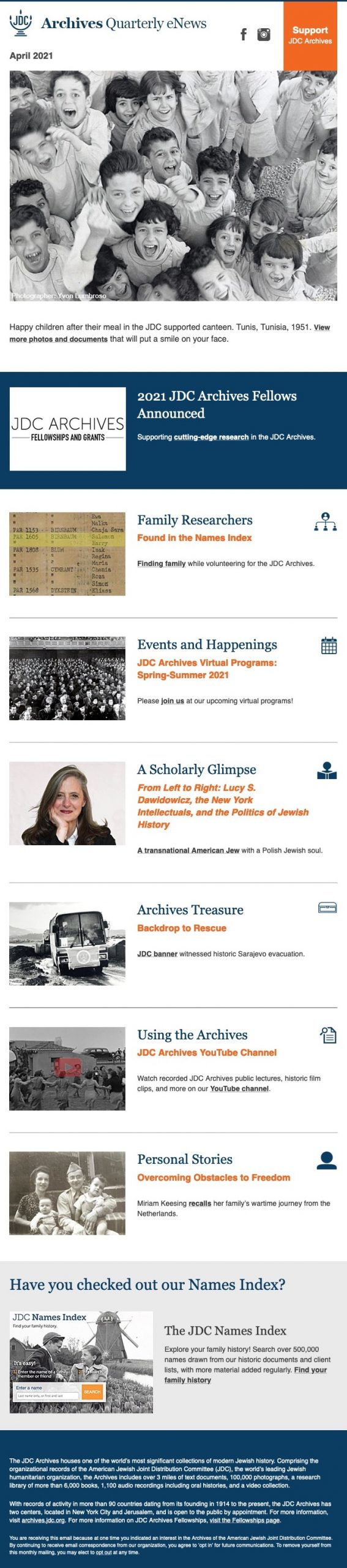 2021 Fellowships Announced, Finding Family in the Archives, Review of Lucy Dawidowicz Biography
