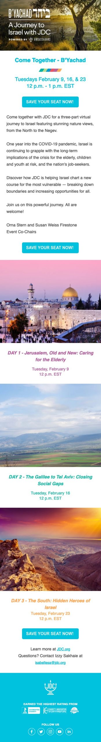 Join JDC for a 3 Part Virtual Journey to Israel - B'Yachad