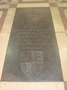 The existing memorial to Richard III, Leicester Cathedral