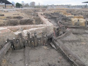 The excavated remains of the wet dock walls, Deptford Dockyard- location of the 'fire' scene in The Mountain of Gold