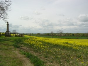 The monument at Naseby, looking towards the site of Prince Rupert's charge