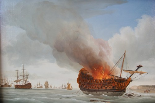 The Anne burning on 5 July 1690 after the battle of Beach Head [Richard Endsor]