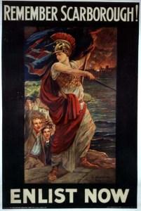 Britannia demands revenge for the German raid on Scarborough, 16 December 1914