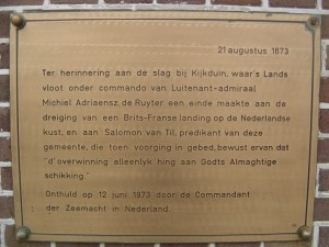 A Dutch congregation took refuge in its church as the battle raged offshore: plaque at Huisduinen, North Holland