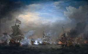 Another Van de Velde the Younger painting of the duel of the Gouden Leeuw and Royal Prince