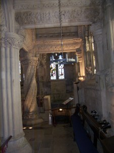 The interior of Rosslyn Chapel, with the Apprentice Pillar in the left background. Taken in the pre-Dan Brown days when the chapel had mould, relatively few visitors, and no ban on interior photography