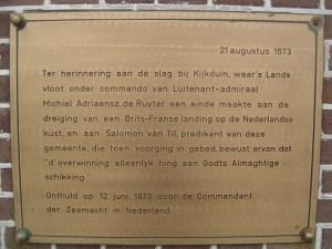 Plaque at Huisduinen church